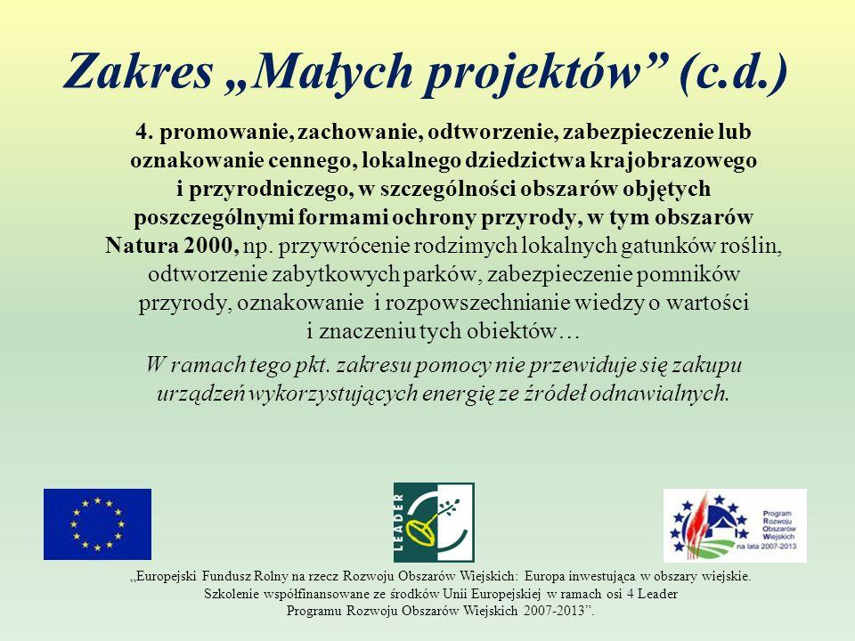 Zakres Małych projektów (c.d.) 4. promowanie, zachowanie, odtworzenie, zabezpieczenie lub oznakowanie cennego, lokalnego dziedzictwa krajobrazowego i