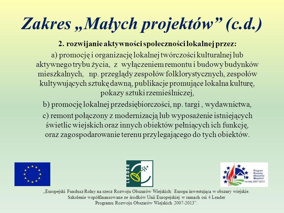 Zakres Małych projektów (c.d.) 2. rozwijanie aktywności społeczności lokalnej przez: a) promocję i organizację lokalnej twórczości kulturalnej lub akt