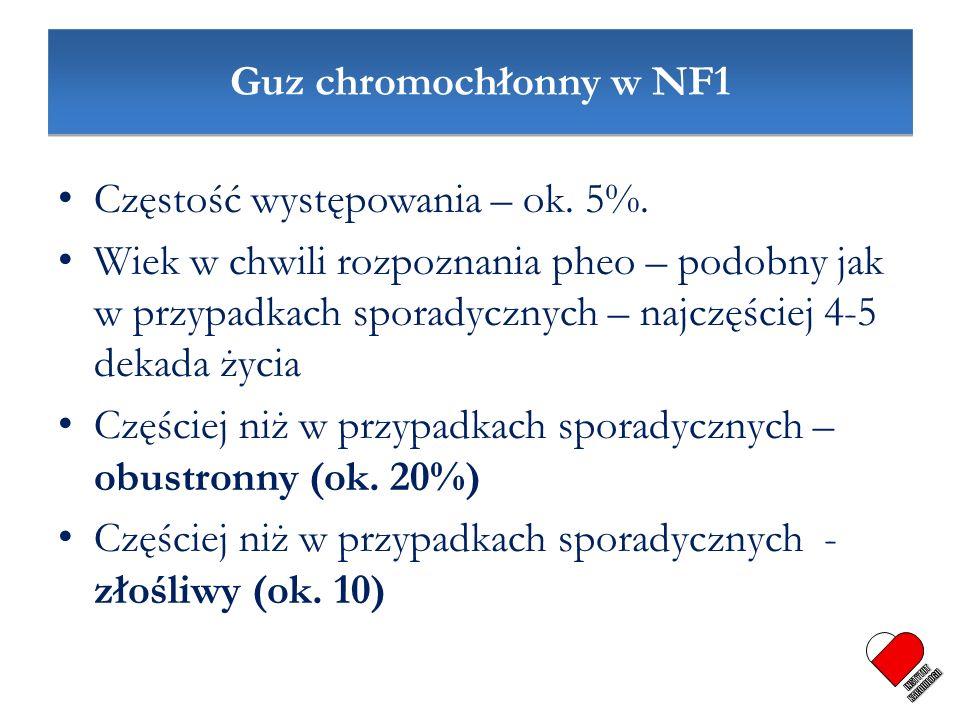 Guz chromochłonny w NF1 Częstość występowania – ok. 5%. Wiek w chwili rozpoznania pheo – podobny jak w przypadkach sporadycznych – najczęściej 4-5 dek