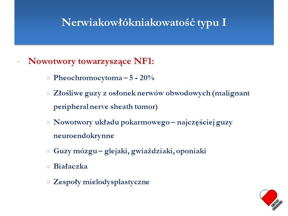 Nerwiakowłókniakowatość typu I Nowotwory towarzyszące NF1: Pheochromocytoma – 5 - 20% Złośliwe guzy z osłonek nerwów obwodowych (malignant peripheral