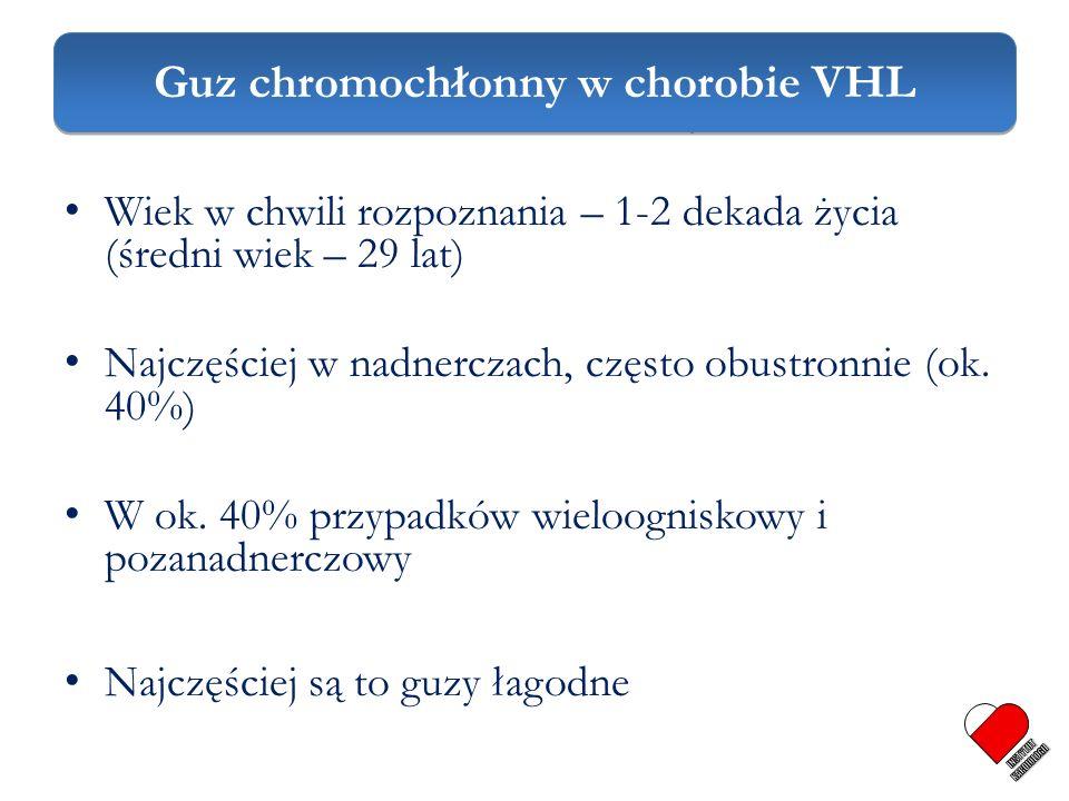 Guz chromochłonny w VHL Wiek w chwili rozpoznania – 1-2 dekada życia (średni wiek – 29 lat) Najczęściej w nadnerczach, często obustronnie (ok. 40%) W
