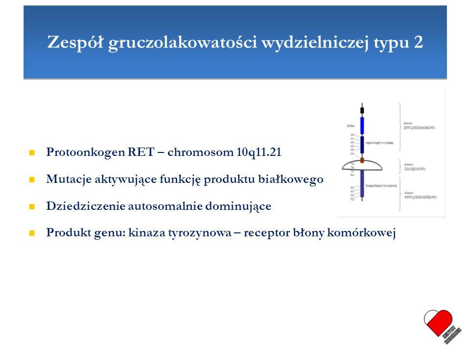 Zespół gruczolakowatości wydzielniczej typu 2 Protoonkogen RET – chromosom 10q11.21 Mutacje aktywujące funkcję produktu białkowego Dziedziczenie autos
