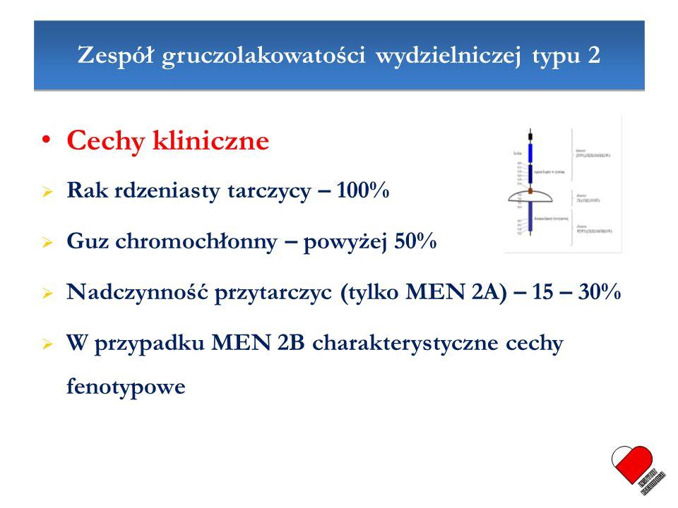 Zespół gruczolakowatości wydzielniczej typu 2 Cechy kliniczne Rak rdzeniasty tarczycy – 100% Guz chromochłonny – powyżej 50% Nadczynność przytarczyc (