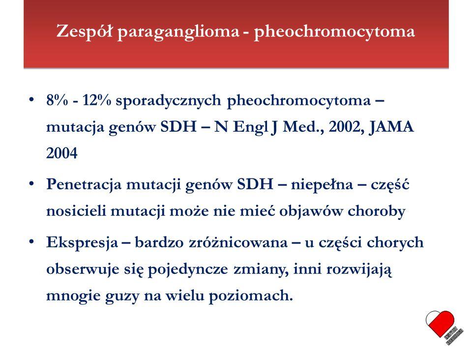 8% - 12% sporadycznych pheochromocytoma – mutacja genów SDH – N Engl J Med., 2002, JAMA 2004 Penetracja mutacji genów SDH – niepełna – część nosicieli