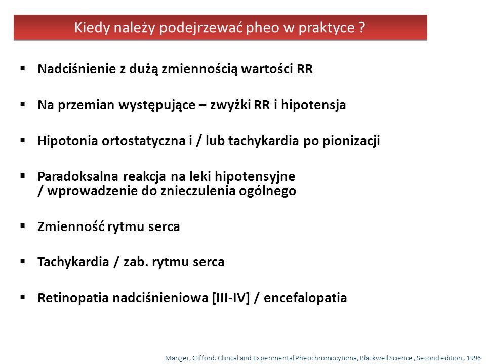 Kryteria rozpoznania wg NIH (obecność dwóch objawów) 6 lub więcej plam typu café au lait 2 lub więcej nerwiakowłókniaków jakiegokolwiek typu lub jeden splotowaty Piegi w okolicy pach lub pachwin Glejak nerwu ocznego Dwa lub więcej guzków Lischa (hamartoma tęczówki) Zmiany w układzie kostnym Nerwiakowłókniakowatość typu I