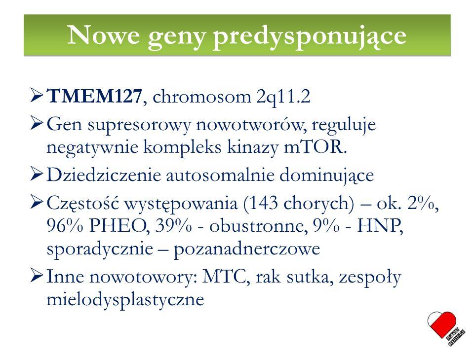TMEM127, chromosom 2q11.2 Gen supresorowy nowotworów, reguluje negatywnie kompleks kinazy mTOR. Dziedziczenie autosomalnie dominujące Częstość występo