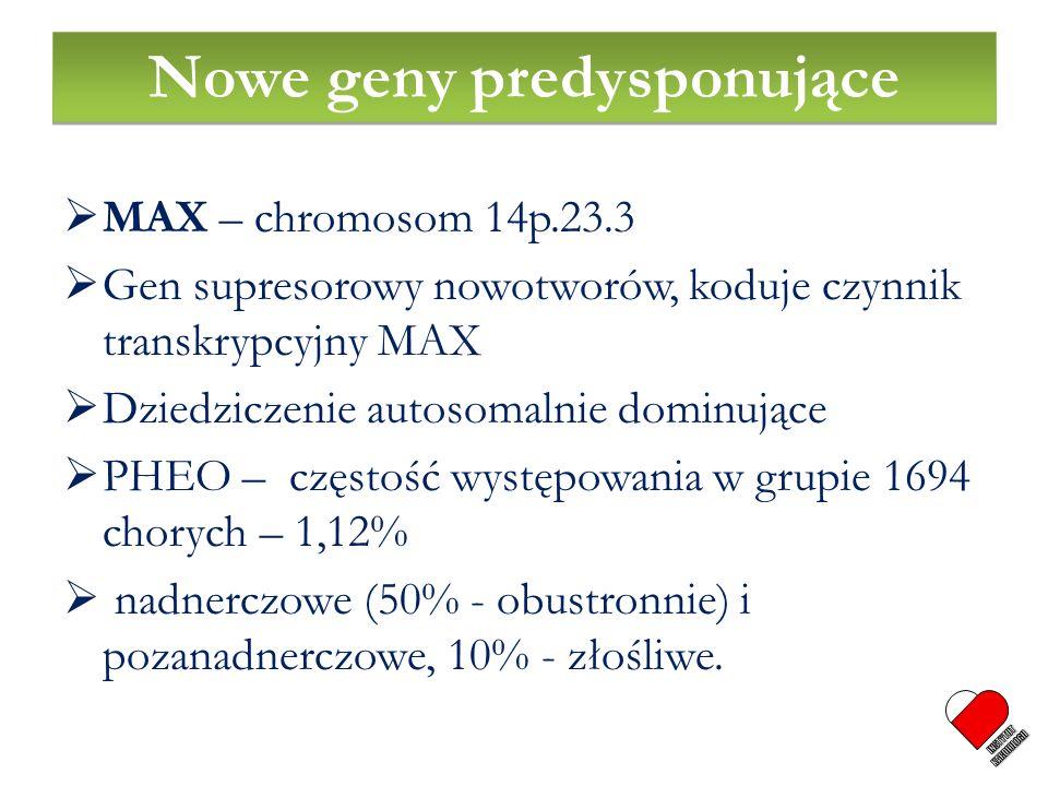 MAX – chromosom 14p.23.3 Gen supresorowy nowotworów, koduje czynnik transkrypcyjny MAX Dziedziczenie autosomalnie dominujące PHEO – częstość występowa