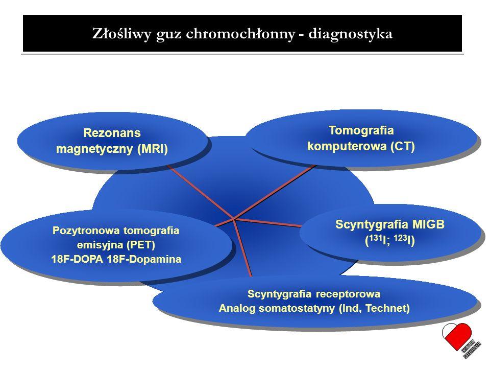 Scyntygrafia receptorowa Analog somatostatyny (Ind, Technet) Rezonans magnetyczny (MRI) Scyntygrafia MIGB ( 131 I; 123 I) Tomografia komputerowa (CT)