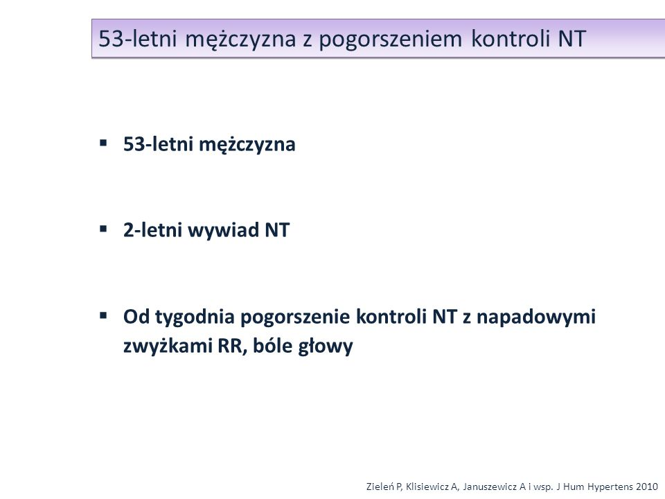Przypadek 19-letni chory - RR podczas mikcji Badanie TK: - guz zlokalizowany w bocznej ścianie pęcherza moczowego - wymiary 5 cm x 3,5 cm - gęstość 38 H.U.
