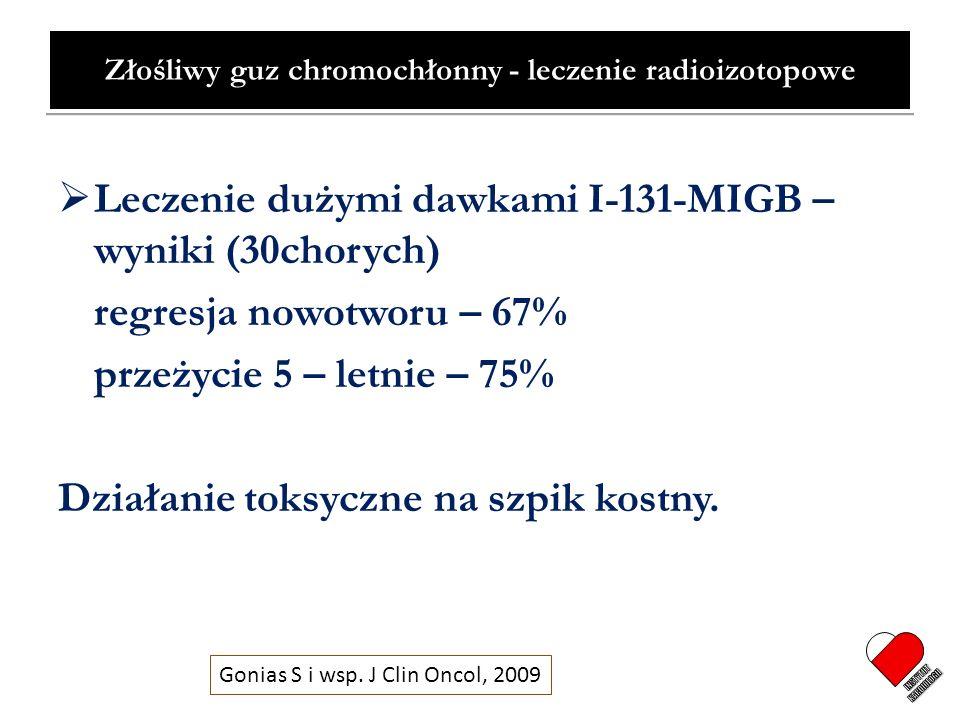 Złośliwy guz chromochłonny - leczenie radioizotopowe Leczenie dużymi dawkami I-131-MIGB – wyniki (30chorych) regresja nowotworu – 67% przeżycie 5 – le