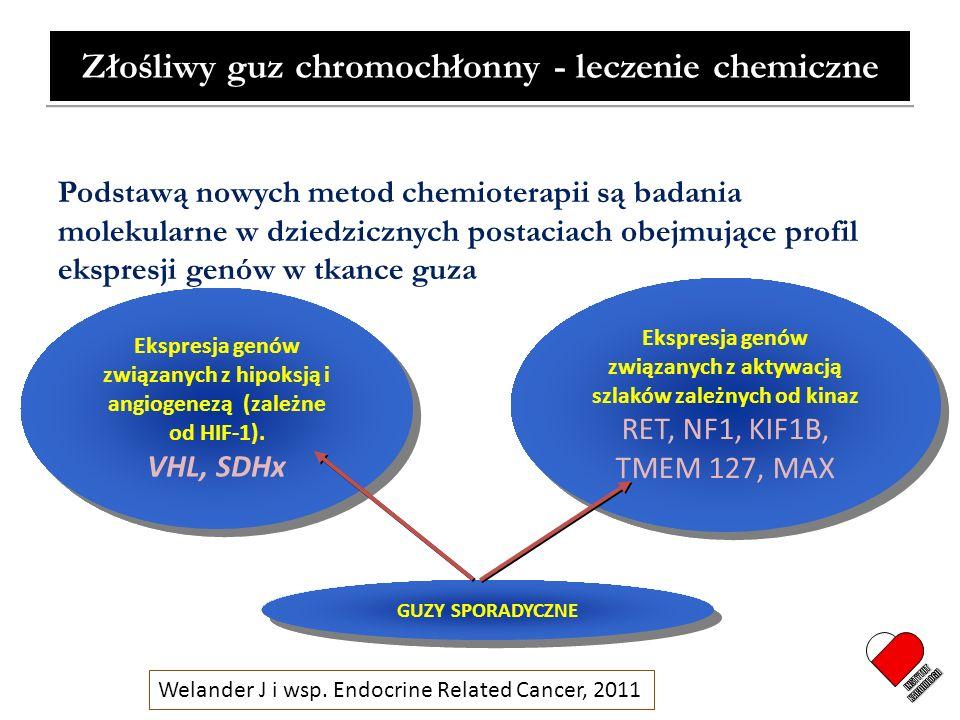 Złośliwy guz chromochłonny - leczenie chemiczne Podstawą nowych metod chemioterapii są badania molekularne w dziedzicznych postaciach obejmujące profi