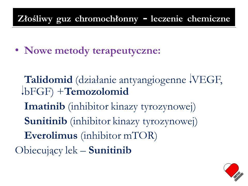 Złośliwy guz chromochłonny - leczenie chemiczne Nowe metody terapeutyczne: Talidomid (działanie antyangiogenne VEGF, bFGF) +Temozolomid Imatinib (inhi