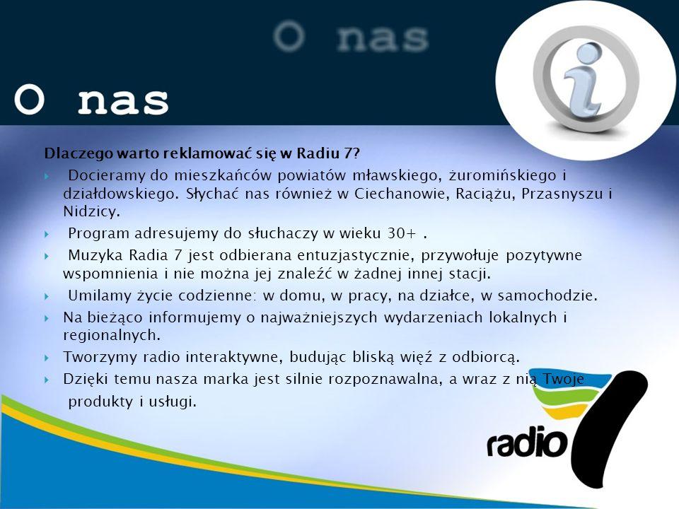 Dlaczego warto reklamować się w Radiu 7? Docieramy do mieszkańców powiatów mławskiego, żuromińskiego i działdowskiego. Słychać nas również w Ciechanow
