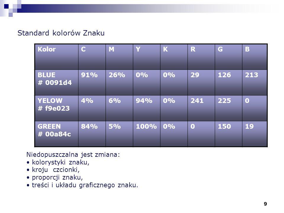 9 Standard kolorów Znaku KolorCMYKRGB BLUE # 0091d4 91%26%0% 29126213 YELOW # f9e023 4%6%94%0%2412250 GREEN # 00a84c 84%5%100%0%015019 Niedopuszczalna