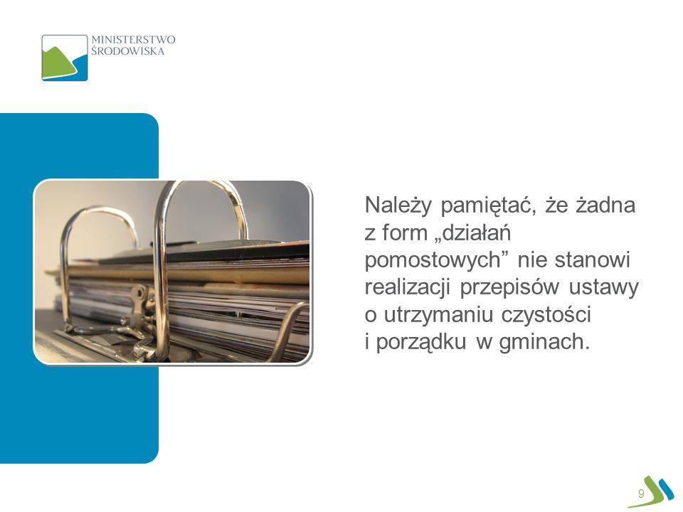 Należy pamiętać, że żadna z form działań pomostowych nie stanowi realizacji przepisów ustawy o utrzymaniu czystości i porządku w gminach. 9