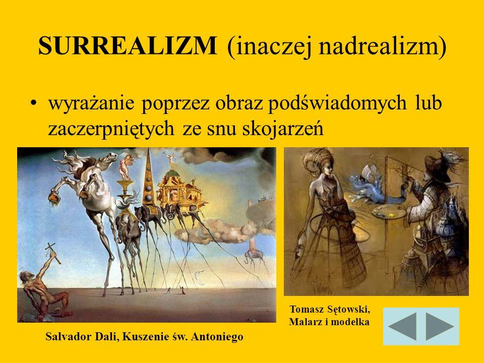 SURREALIZM (inaczej nadrealizm) wyrażanie poprzez obraz podświadomych lub zaczerpniętych ze snu skojarzeń Salvador Dali, Kuszenie św. Antoniego Tomasz