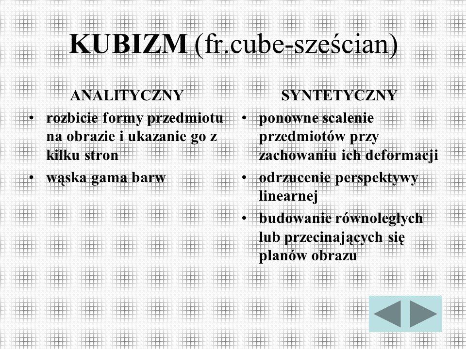 KUBIZM (fr.cube-sześcian) ANALITYCZNY rozbicie formy przedmiotu na obrazie i ukazanie go z kilku stron wąska gama barw SYNTETYCZNY ponowne scalenie pr