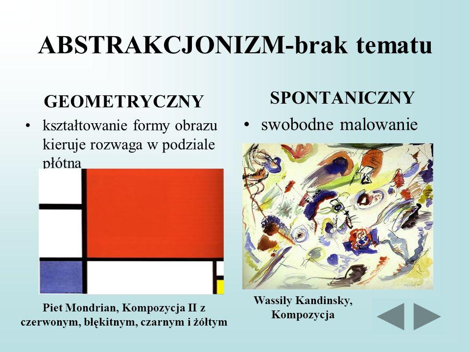 ABSTRAKCJONIZM-brak tematu GEOMETRYCZNY kształtowanie formy obrazu kieruje rozwaga w podziale płótna SPONTANICZNY swobodne malowanie Piet Mondrian, Ko