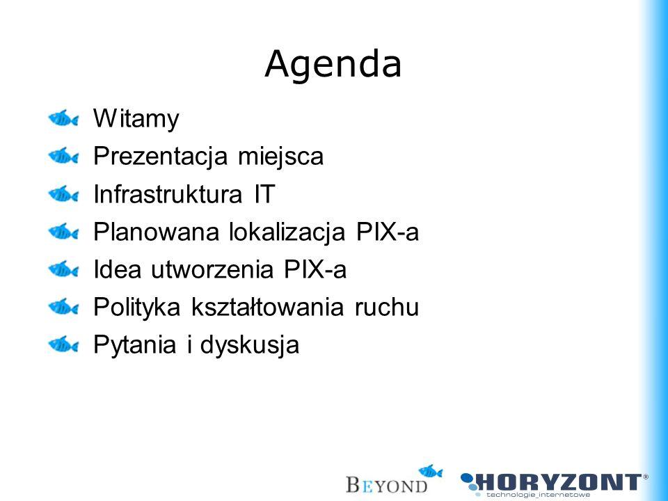 Agenda Witamy Prezentacja miejsca Infrastruktura IT Planowana lokalizacja PIX-a Idea utworzenia PIX-a Polityka kształtowania ruchu Pytania i dyskusja