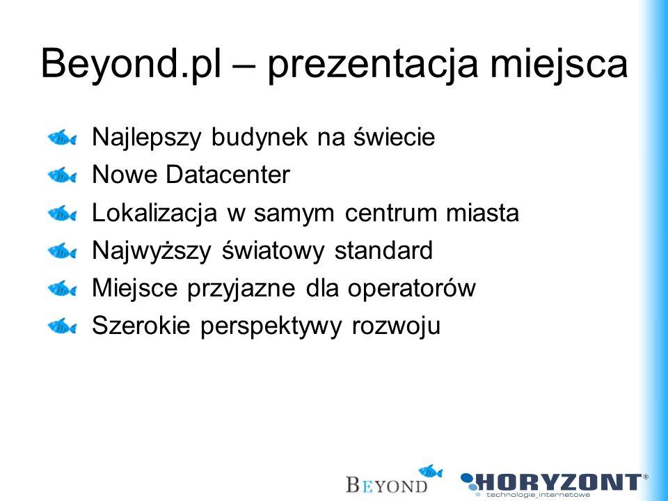 Beyond.pl – prezentacja miejsca Najlepszy budynek na świecie Nowe Datacenter Lokalizacja w samym centrum miasta Najwyższy światowy standard Miejsce pr