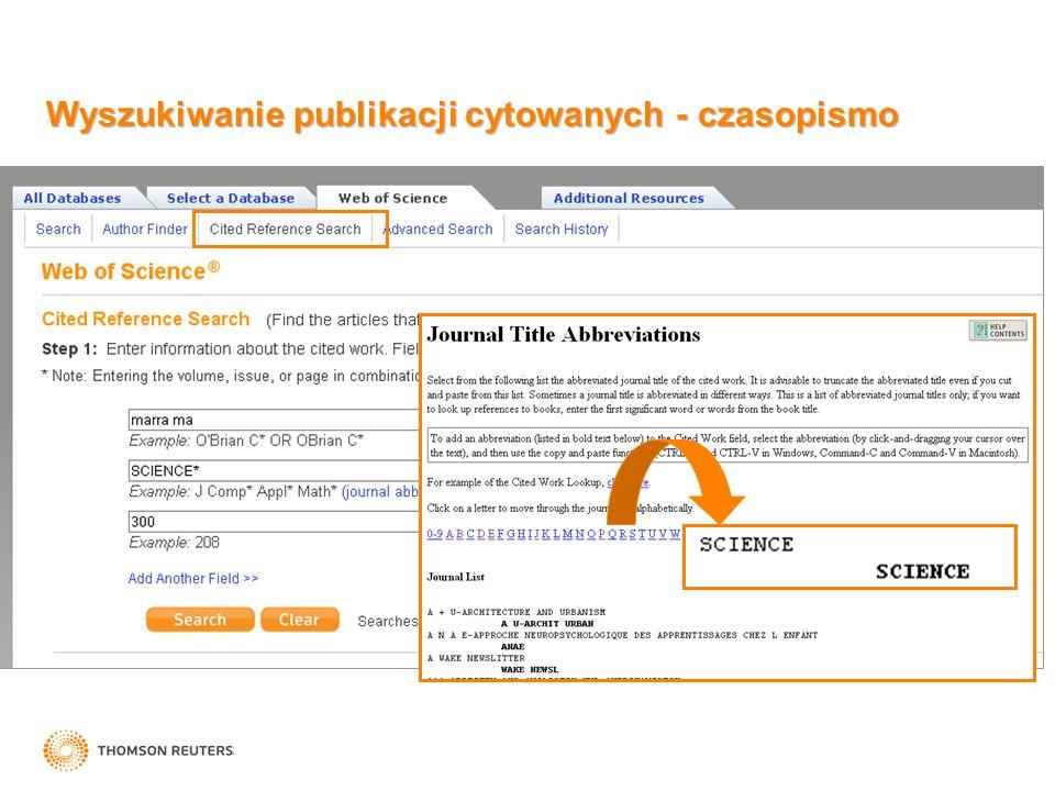 Wyszukiwanie publikacji cytowanych - czasopismo