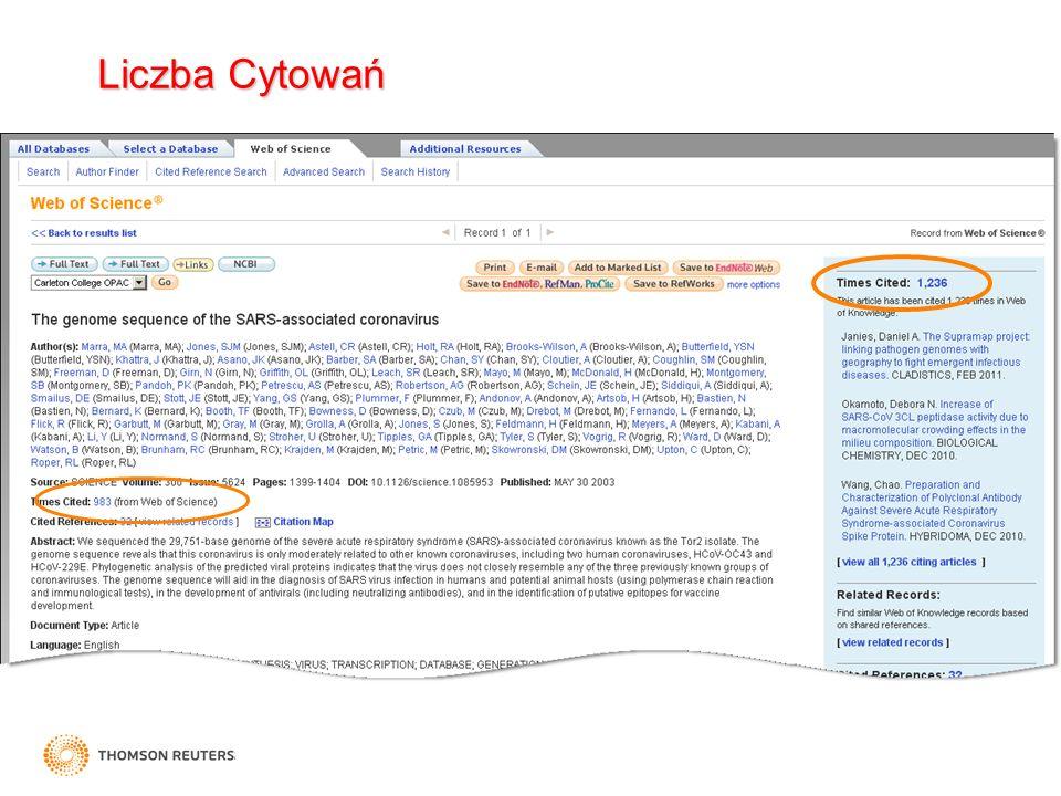 Cited Reference Search / Wyniki Jako rekordy cytujące pracę naszego autora, zapewne są one powiązane z tym samym tematem nawet jeśli nie zawierają tych samych słów.