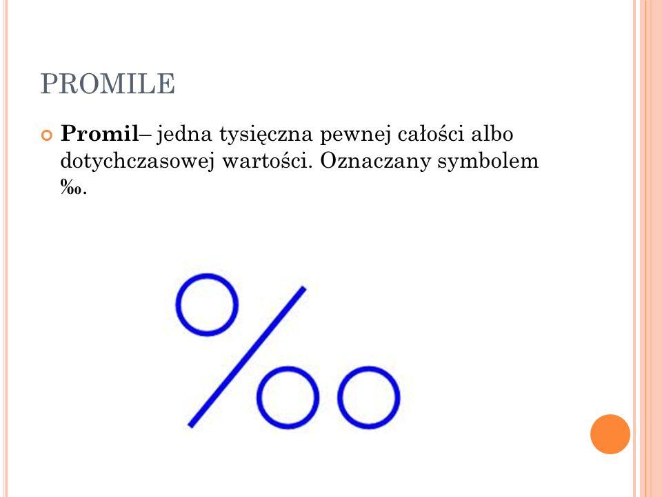 PROMILE Promil – jedna tysięczna pewnej całości albo dotychczasowej wartości. Oznaczany symbolem.