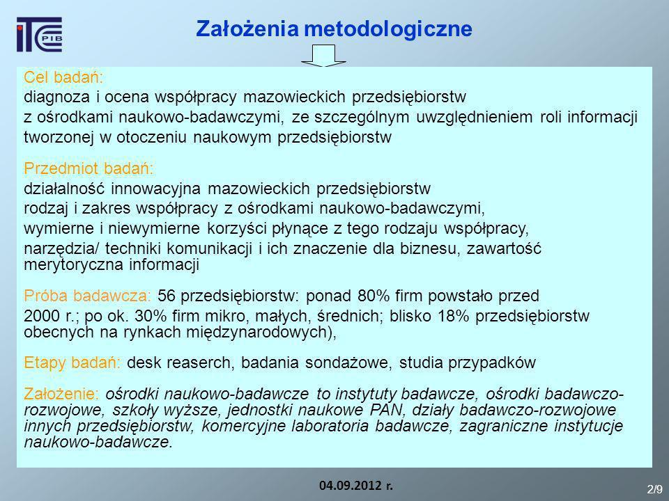 Założenia metodologiczne Cel badań: diagnoza i ocena współpracy mazowieckich przedsiębiorstw z ośrodkami naukowo-badawczymi, ze szczególnym uwzględnie