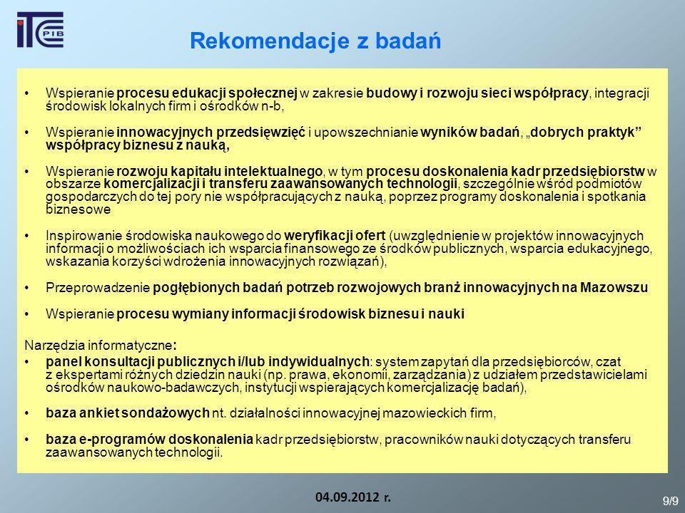 Rekomendacje z badań 04.09.2012 r. Wspieranie procesu edukacji społecznej w zakresie budowy i rozwoju sieci współpracy, integracji środowisk lokalnych