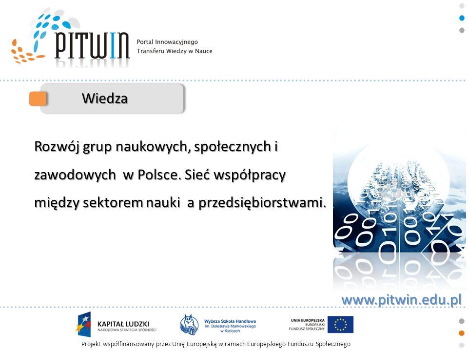 Projekt współfinansowany przez Unię Europejską w ramach Europejskiego Funduszu Społecznego www.pitwin.edu.pl Wiedza Rozwój grup naukowych, społecznych