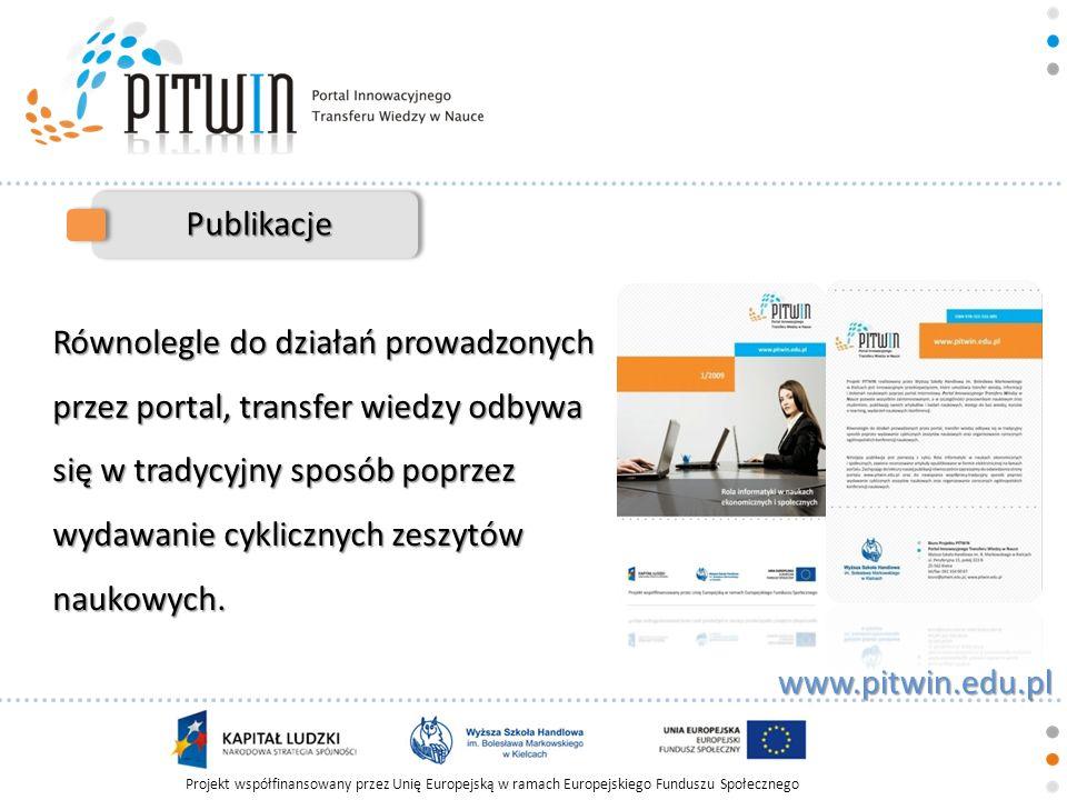 Projekt współfinansowany przez Unię Europejską w ramach Europejskiego Funduszu Społecznego www.pitwin.edu.pl Publikacje Równolegle do działań prowadzo