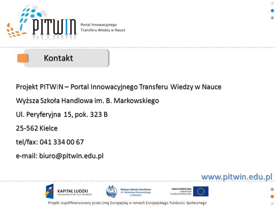 Projekt współfinansowany przez Unię Europejską w ramach Europejskiego Funduszu Społecznego www.pitwin.edu.pl Kontakt Projekt PITWIN – Portal Innowacyj