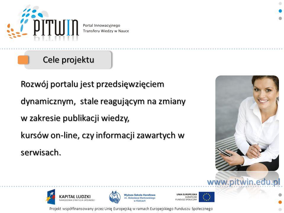 Projekt współfinansowany przez Unię Europejską w ramach Europejskiego Funduszu Społecznego www.pitwin.edu.pl Cele projektu Rozwój portalu jest przedsi