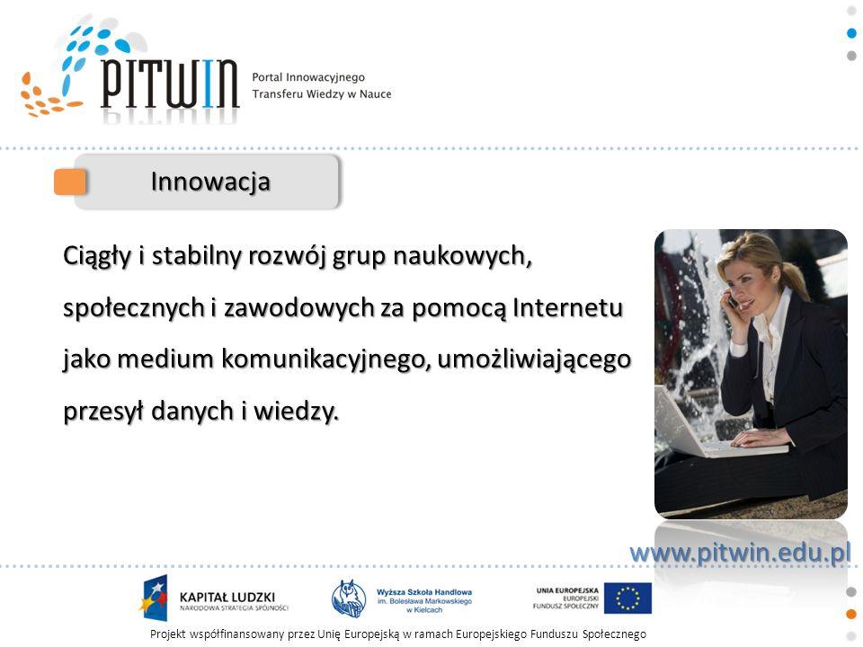 Projekt współfinansowany przez Unię Europejską w ramach Europejskiego Funduszu Społecznego www.pitwin.edu.pl Innowacja Integracja społeczności naukowej, studentów oraz podnoszenie własnych kompetencji.