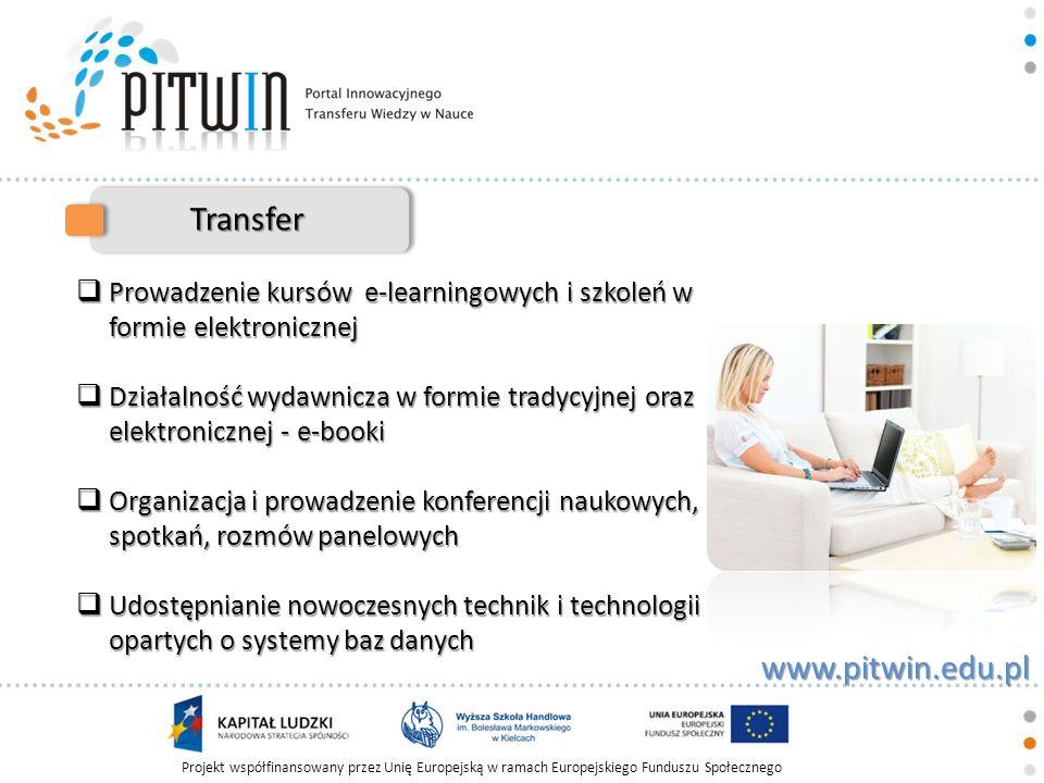 Projekt współfinansowany przez Unię Europejską w ramach Europejskiego Funduszu Społecznego www.pitwin.edu.pl Transfer Prowadzenie kursów e-learningowy