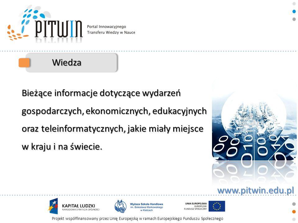 Projekt współfinansowany przez Unię Europejską w ramach Europejskiego Funduszu Społecznego www.pitwin.edu.pl Wiedza Bieżące informacje dotyczące wydar