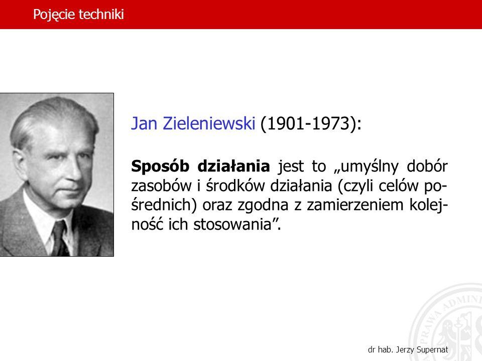 12 Jan Zieleniewski (1901-1973): Sposób działania jest to umyślny dobór zasobów i środków działania (czyli celów po- średnich) oraz zgodna z zamierzen