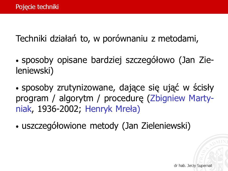 21 Techniki działań to, w porównaniu z metodami, sposoby opisane bardziej szczegółowo (Jan Zie- leniewski) sposoby zrutynizowane, dające się ująć w śc