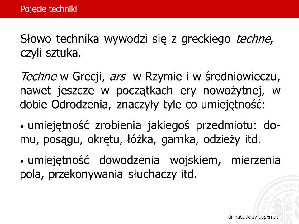 8 Słowo technika wywodzi się z greckiego techne, czyli sztuka. Techne w Grecji, ars w Rzymie i w średniowieczu, nawet jeszcze w początkach ery nowożyt