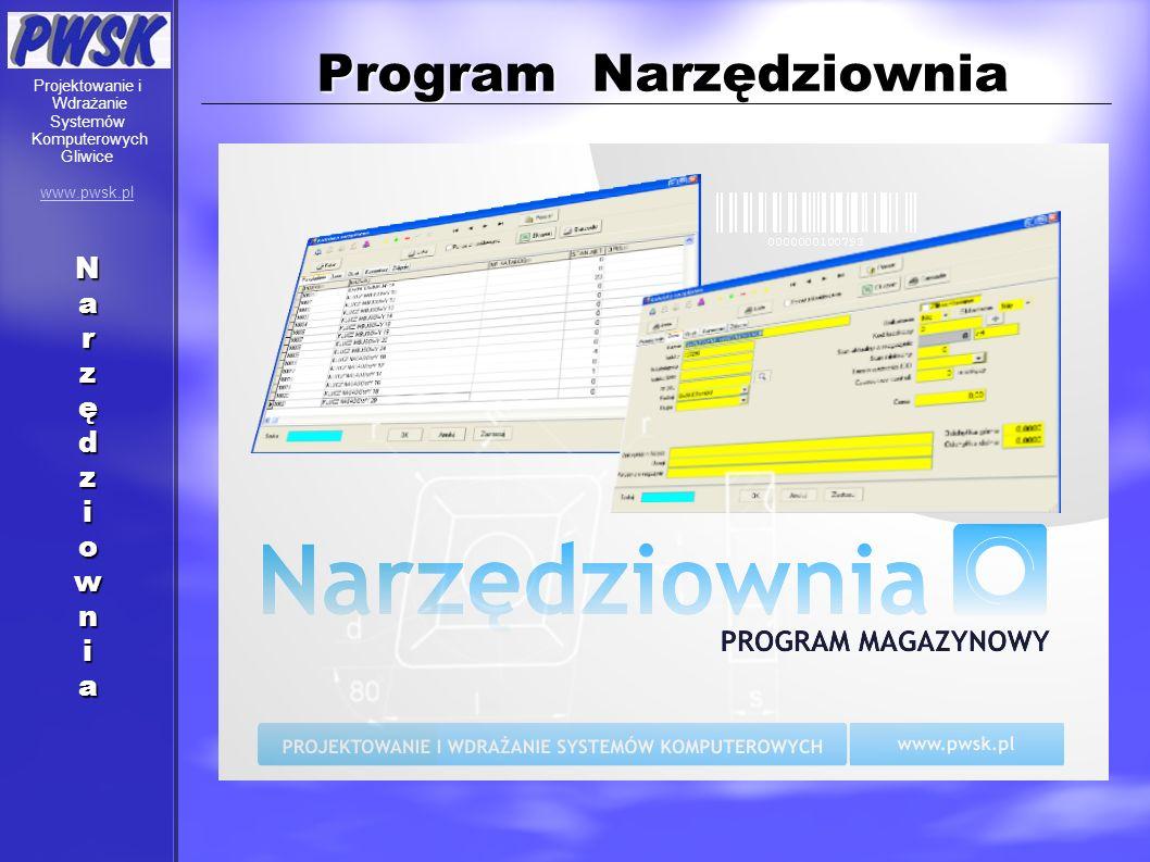 Program Narzędziownia Narzędziownia Projektowanie i Wdrażanie Systemów Komputerowych Gliwice www.pwsk.pl