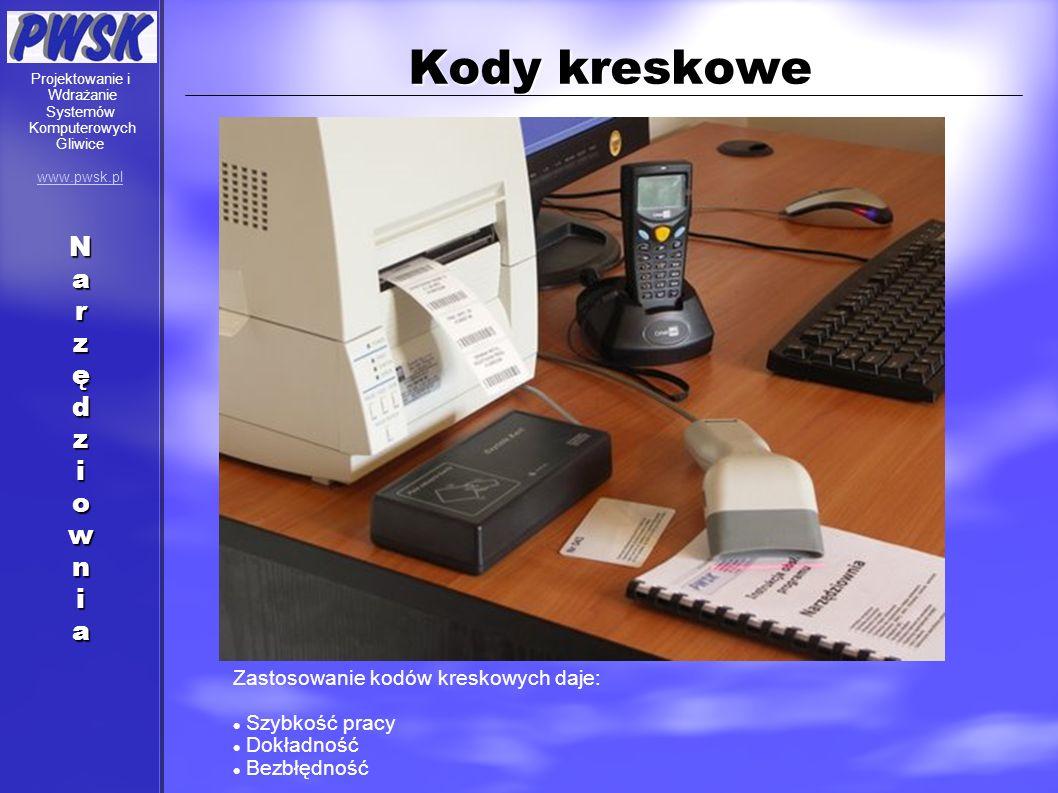 Kody kreskowe Zastosowanie kodów kreskowych daje: Szybkość pracy Dokładność Bezbłędność Projektowanie i Wdrażanie Systemów Komputerowych Gliwice www.p