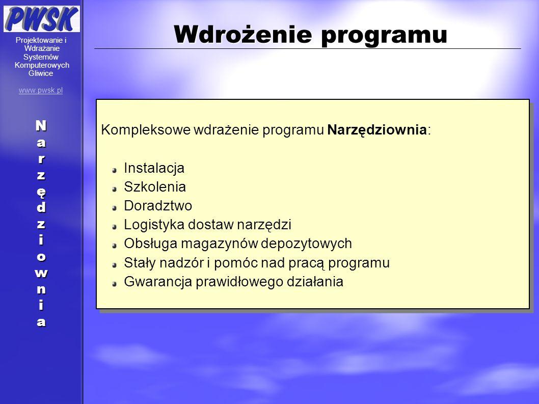 Wdrożenie programu Kompleksowe wdrażenie programu Narzędziownia: Instalacja Szkolenia Doradztwo Logistyka dostaw narzędzi Obsługa magazynów depozytowy