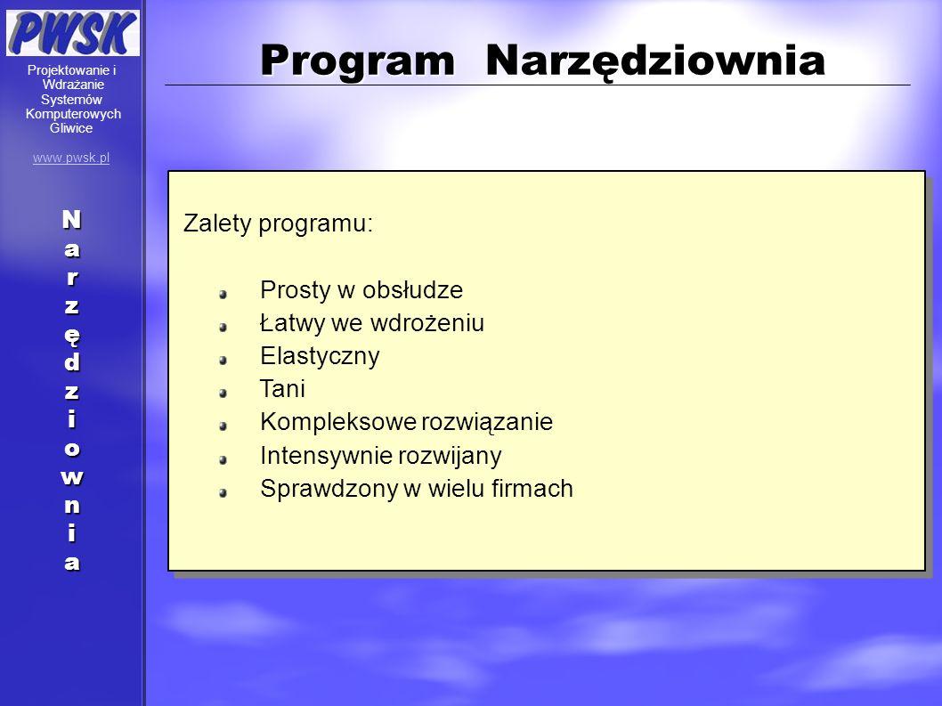 Program Narzędziownia Zalety programu: Prosty w obsłudze Łatwy we wdrożeniu Elastyczny Tani Kompleksowe rozwiązanie Intensywnie rozwijany Sprawdzony w