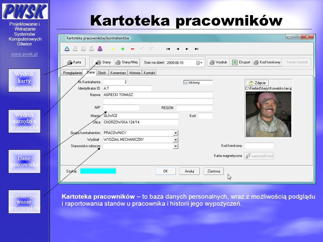 Kartoteka pracowników Kartoteka pracowników – to baza danych personalnych, wraz z możliwością podglądu i raportowania stanów u pracownika i historii j