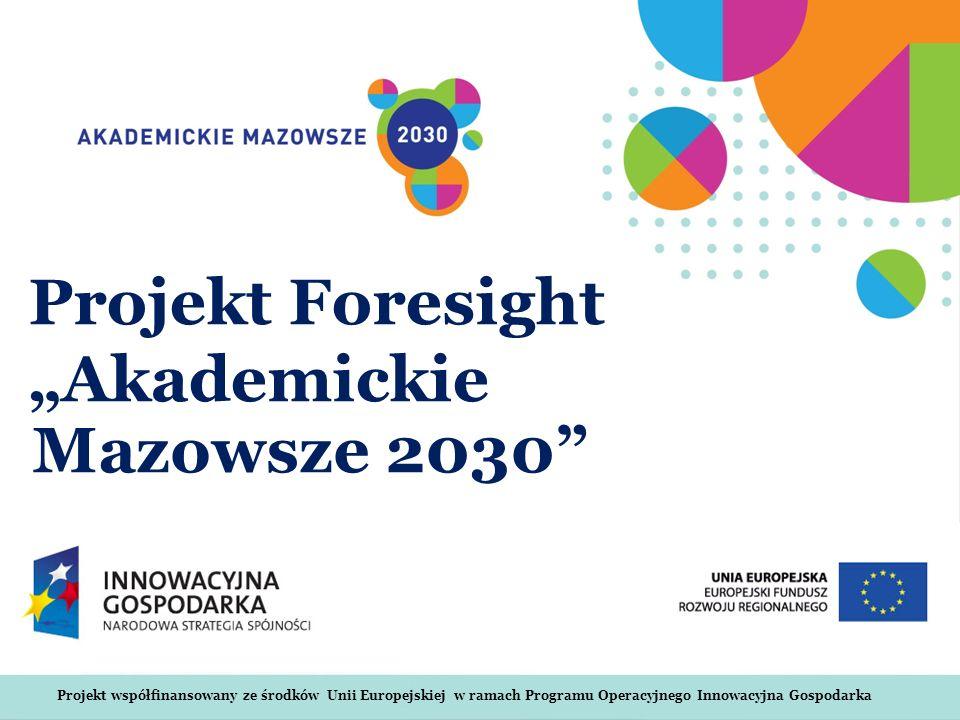 Projekt współfinansowany ze środków Unii Europejskiej w ramach Programu Operacyjnego Innowacyjna Gospodarka Projekt Foresight Akademickie Mazowsze 203
