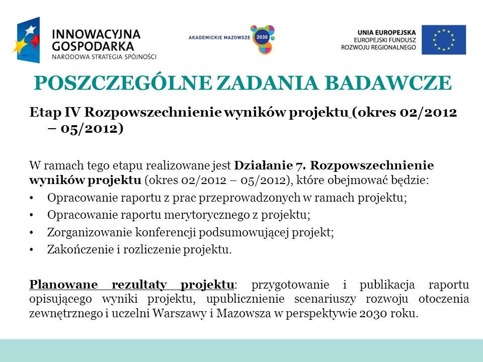 POSZCZEGÓLNE ZADANIA BADAWCZE Etap IV Rozpowszechnienie wyników projektu (okres 02/2012 – 05/2012) W ramach tego etapu realizowane jest Działanie 7. R