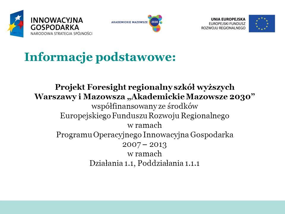 Informacje podstawowe: Projekt Foresight regionalny szkół wyższych Warszawy i Mazowsza Akademickie Mazowsze 2030 współfinansowany ze środków Europejsk