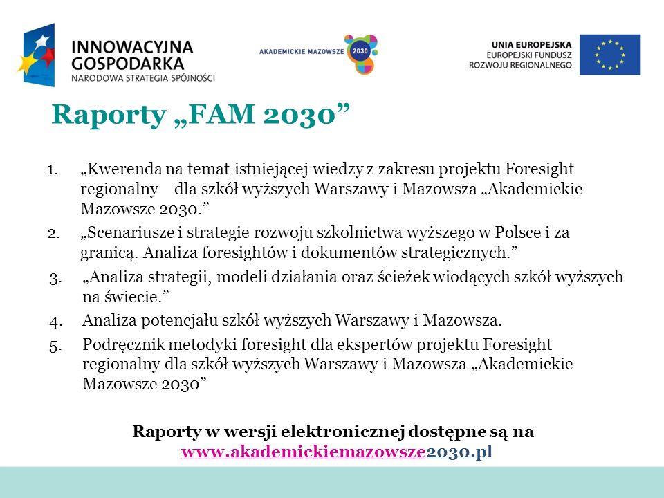 Raporty FAM 2030 1.Kwerenda na temat istniejącej wiedzy z zakresu projektu Foresight regionalny dla szkół wyższych Warszawy i Mazowsza Akademickie Maz