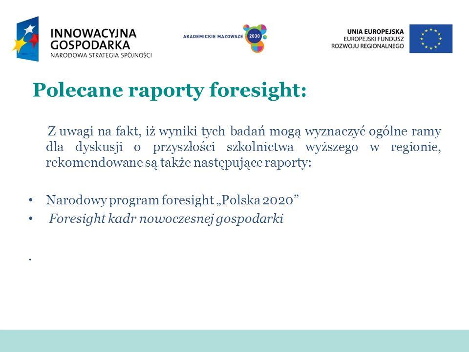 Polecane raporty foresight: Z uwagi na fakt, iż wyniki tych badań mogą wyznaczyć ogólne ramy dla dyskusji o przyszłości szkolnictwa wyższego w regioni