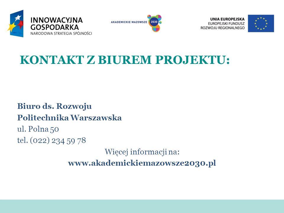KONTAKT Z BIUREM PROJEKTU: Biuro ds. Rozwoju Politechnika Warszawska ul. Polna 50 tel. (022) 234 59 78 Więcej informacji na: www.akademickiemazowsze20